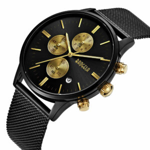 Relojes para hombre BAOGELA Reloj de cuarzo de marca de malla con esfera dorada de acero inoxidable a la moda