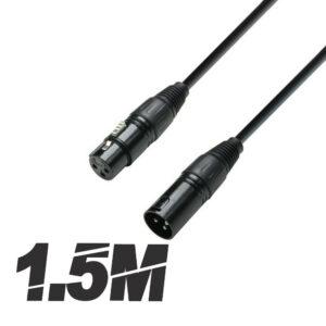Roar 1.5M DMX Cable XLR Hembra - XLR Macho Negro 110 Ohm 150cm Disco Iluminación DJ