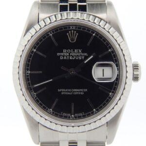Rolex Datejust Reloj para hombre de acero inoxidable con cristal de zafiro y esfera negra 16220