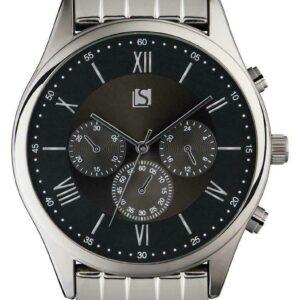 Spirit Reloj de pulsera de acero inoxidable plateado para hombre Reloj de cuarzo para hombre con esfera negra