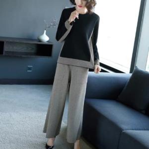 última primavera, moda coreana, tejido de ocio, pantalones anchos, traje de dos piezas